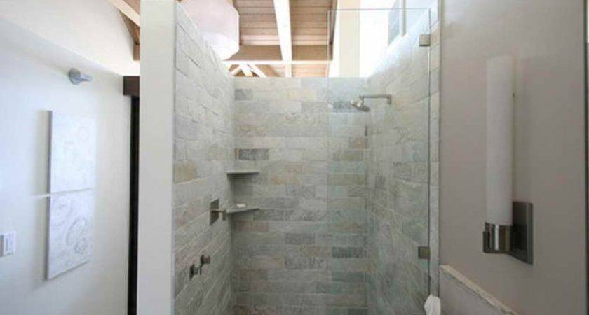 Awesome Walk Shower Ideas Small Bathrooms Wooden Ceiling Panel