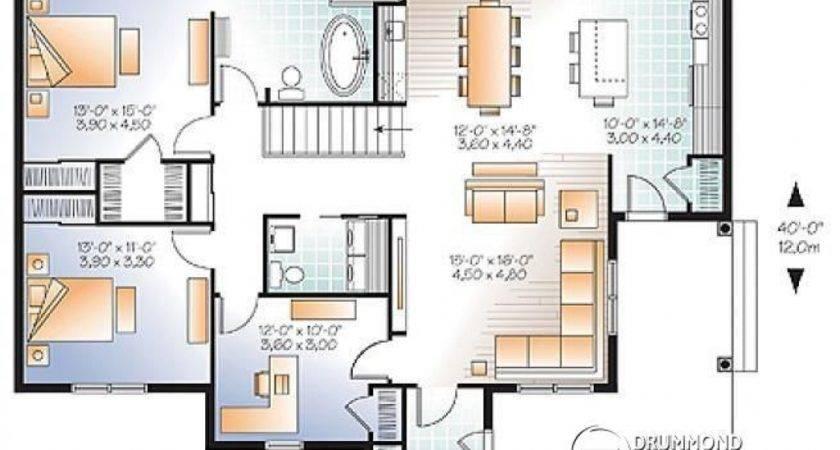 Bedroom Bungalow Floor Plan Homes Plans