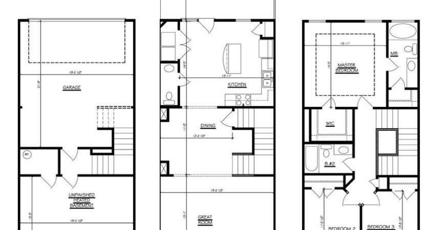 Bedroom Townhouse Floor Plans Garage Story