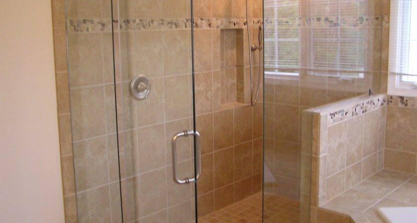 Best Cream Shower Tile Ideas Glass Door Room Beside