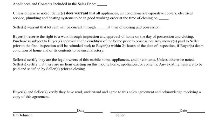 Best Mobile Home Purchase Agreement