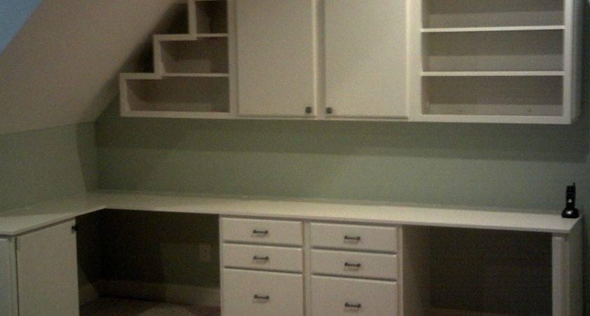 Built Desk Two Workstations Cabinets