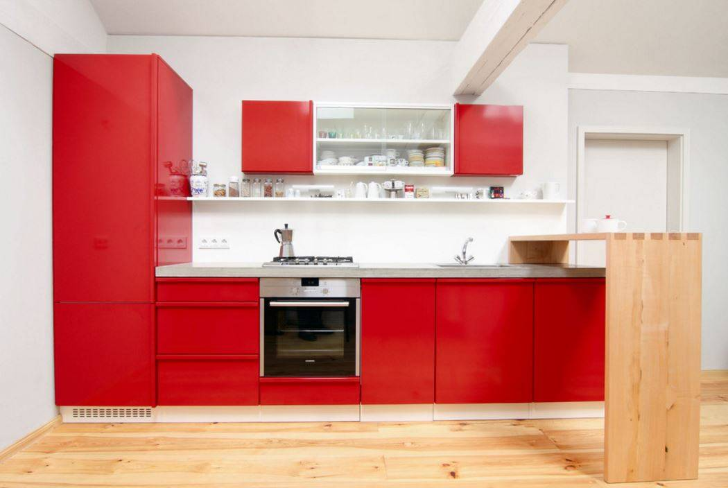 Can Beautiful Bright Red Modular Kitchen