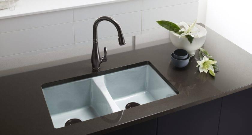 Cast Iron Kitchen Sink Kohler Deerfield Enameled