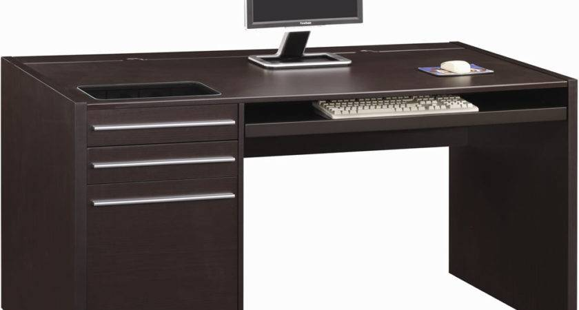 Casual Single Pedestal Desk Built Power Strip