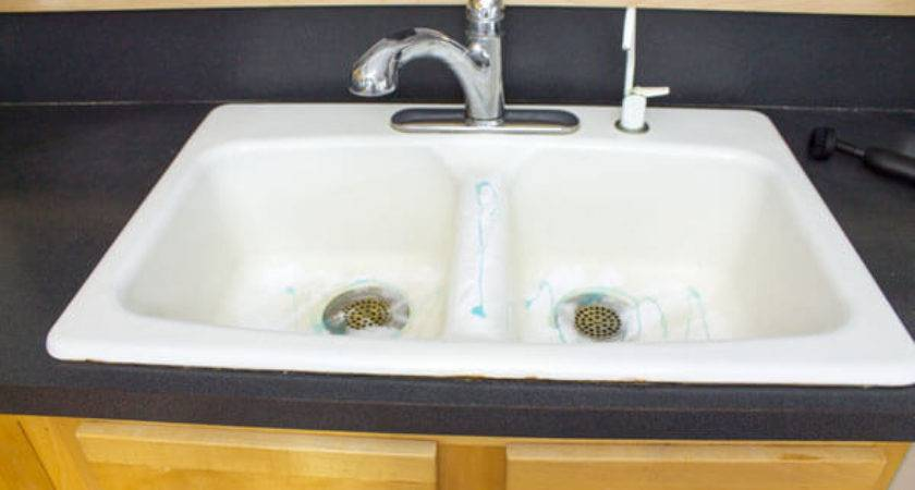 Clean Enameled Cast Iron Kitchen Sink