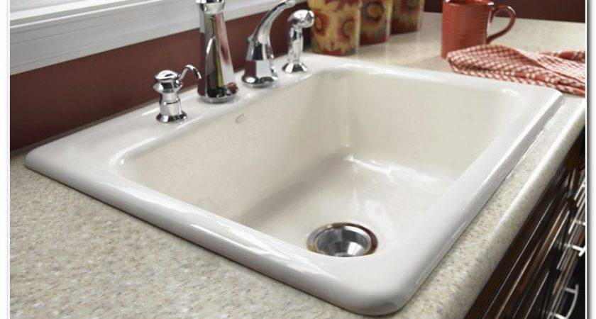 Clean White Cast Iron Kitchen Sink Faucet