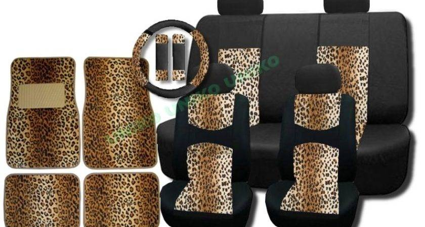 Cool Breeze Padded Mesh Seat Covers Tan Leopard Accent Floor Mats