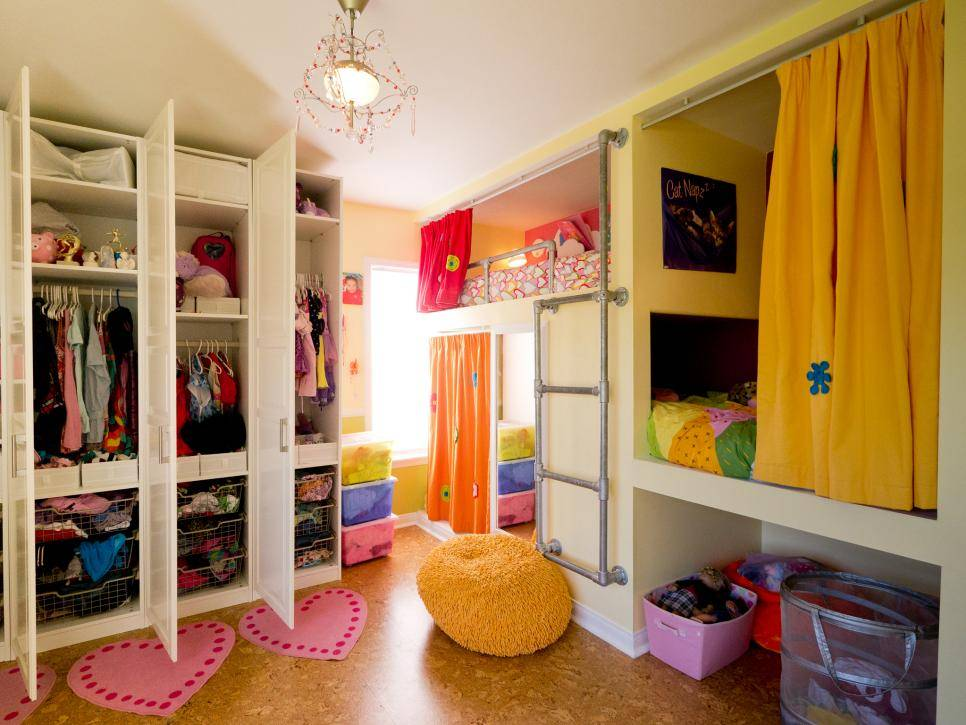 Creative Shared Bedroom Three Girls Kids Room Ideas Playroom
