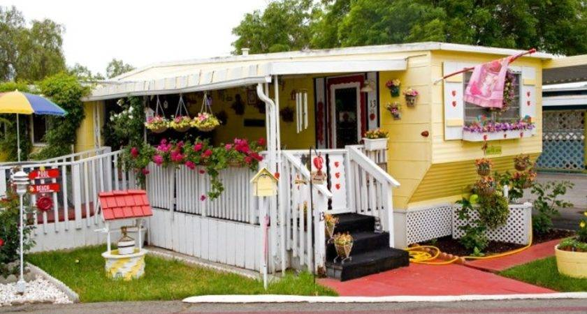 Cute Yellow Mobile Home Vintage Camping Pinterest