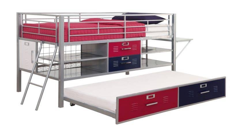 Dhp Furniture Trundle Junior Twin Silver Locker Bed