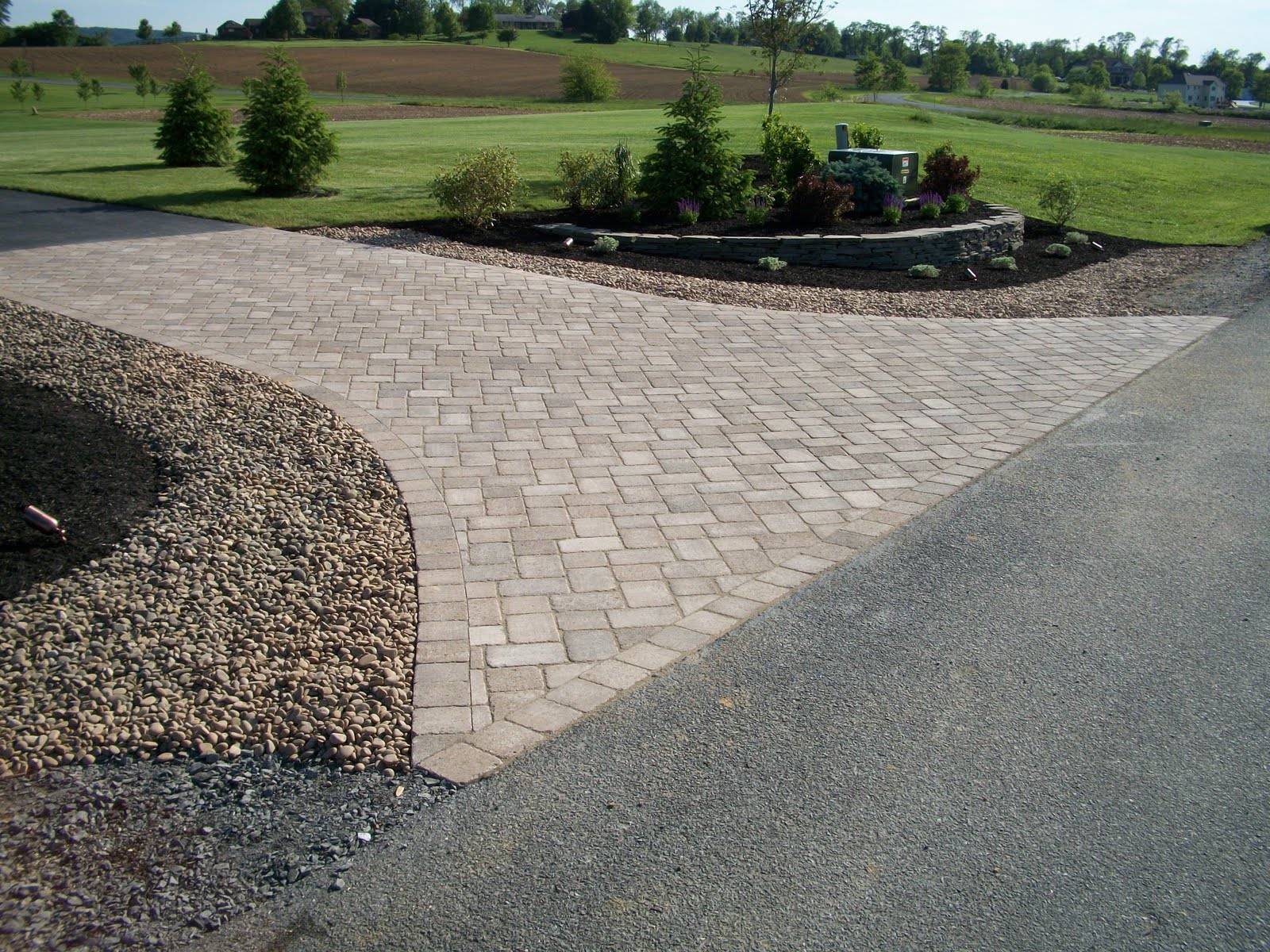 Driveway Entrance Just Completed Together Some Landscaping