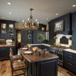 Elegant Black Kitchen Design Cabinets Rockville Center