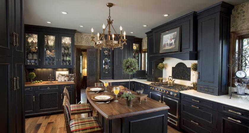 Elegant Black Kitchen Design Cabinets Rockville Center