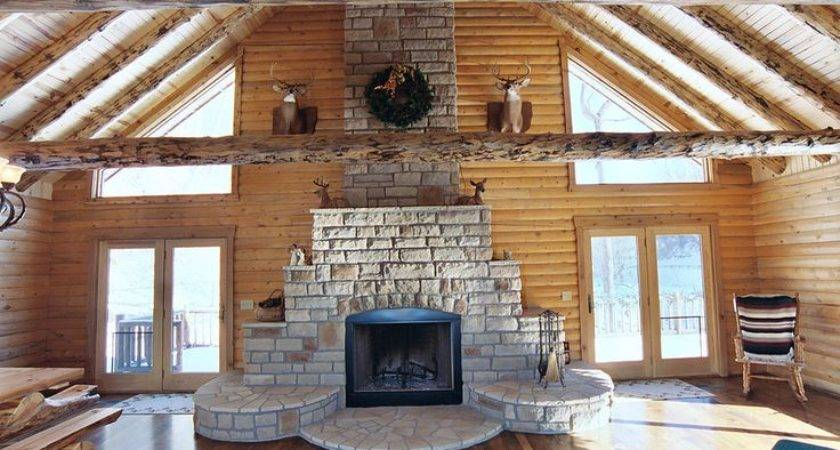 Fireplace Log Home Build Someday Pinterest