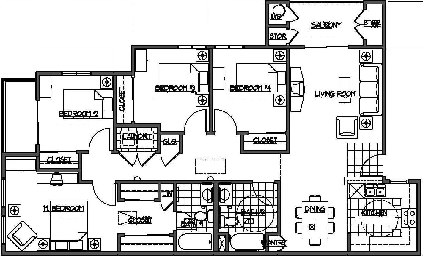 four bedroom house plans  kelseybash ranch  66290