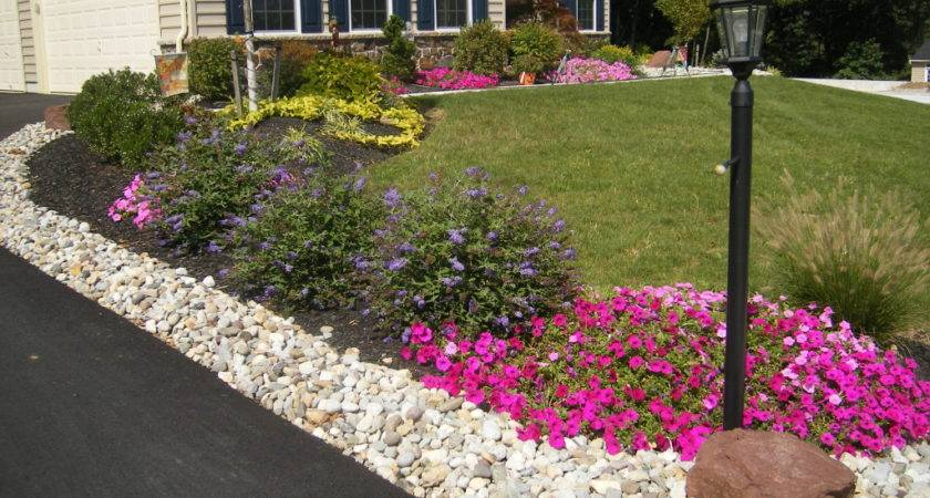 Front Landscaping Along Driveway Green Acres