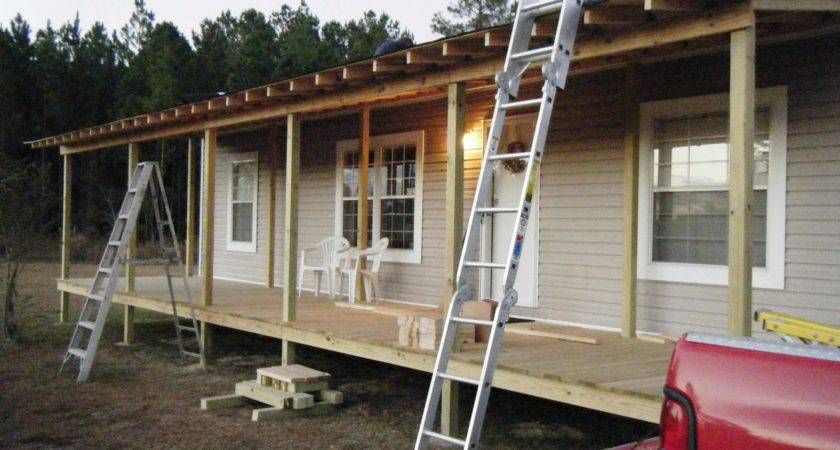 Front Porch Being Built Onto Double Design Mobile Homes