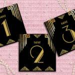 Gatsby Art Deco Table Cards Numbers Decoration