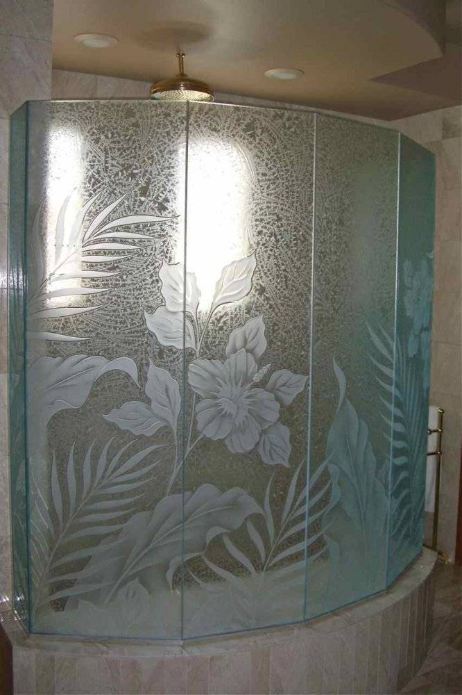 Hibiscus Paradise Glass Shower Etched Tropical Style