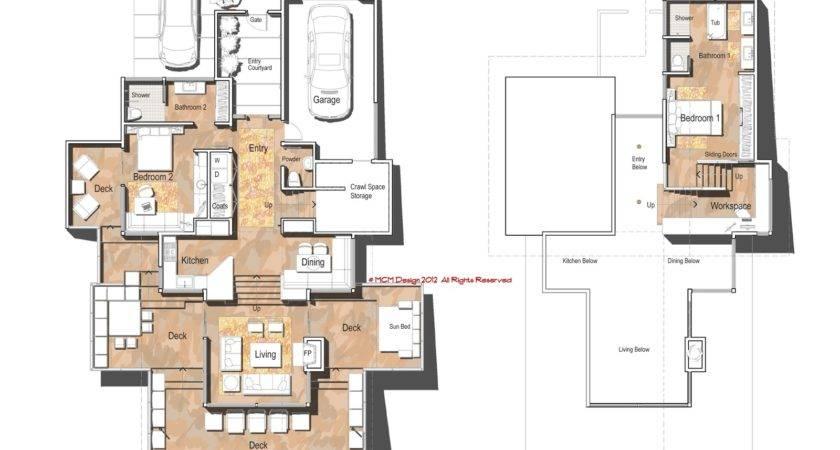 Home Designed Down Sloping Hillside Four