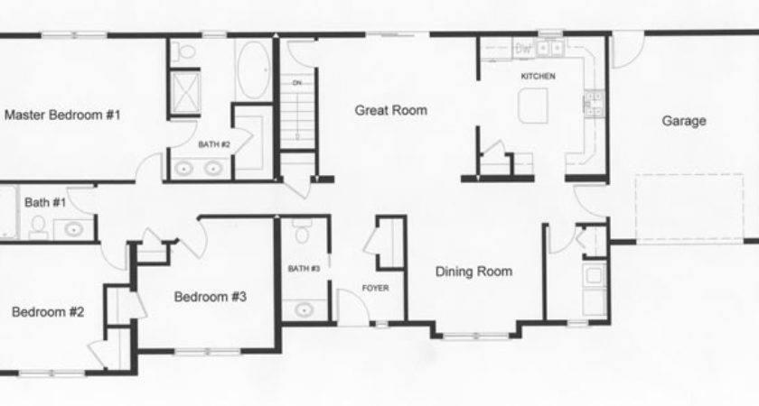 House Plans Ranch Bedroom Homes Floor