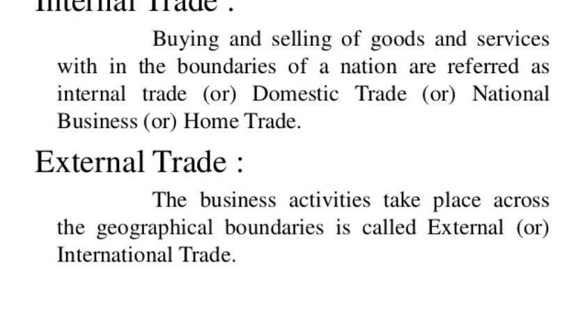 Internal Trade