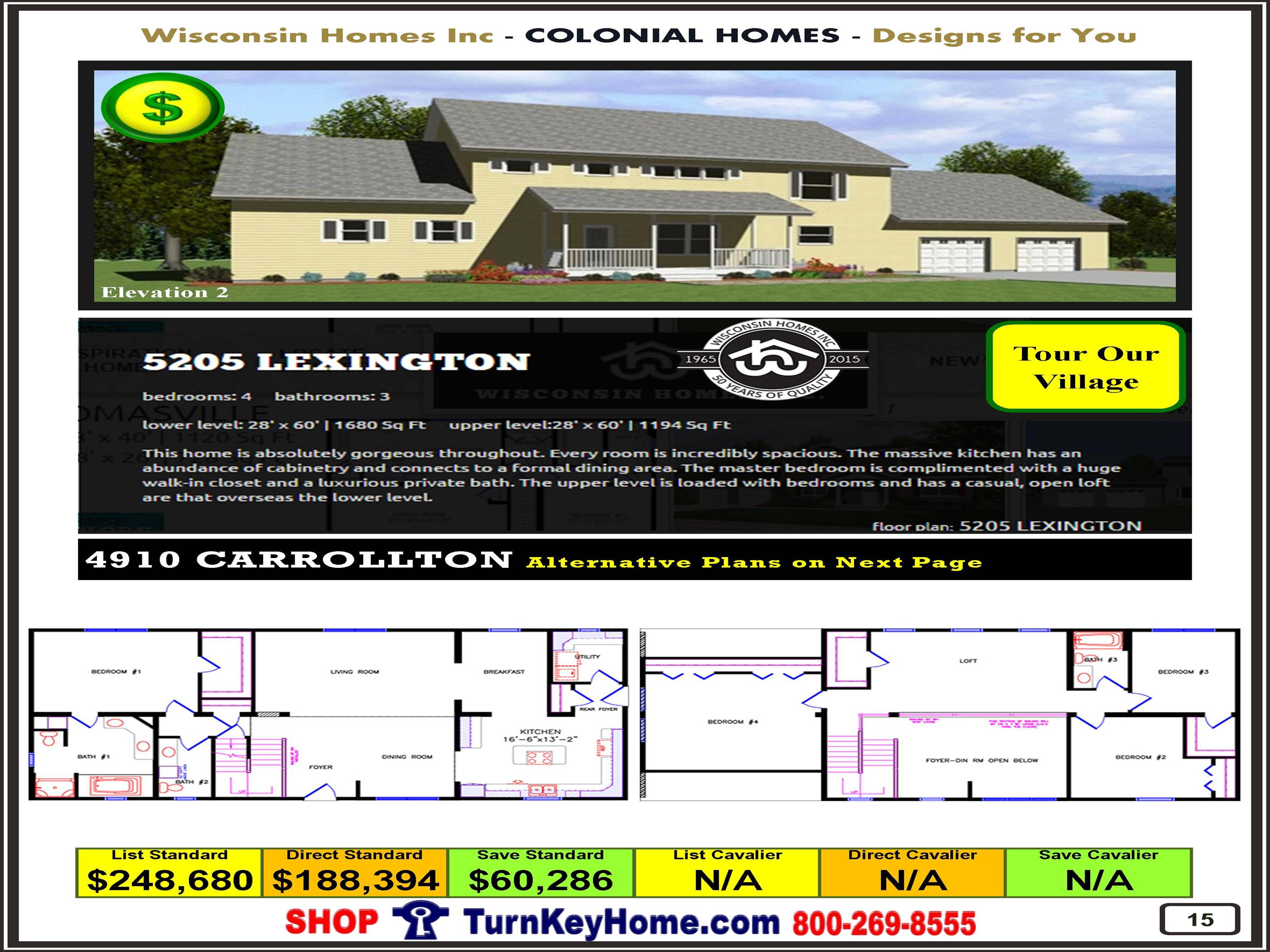 Lexington Wisconsin Homes Inc Modular Colonial Home Plan