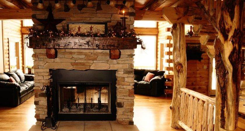 Log Home Fireplace Decor Cabins Pinterest