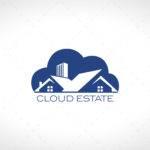 Modern Estate Logo Cloud House Sale Lobotz
