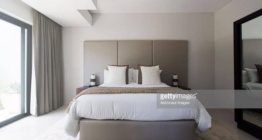 Modern White Beige Bedroom Double Bed