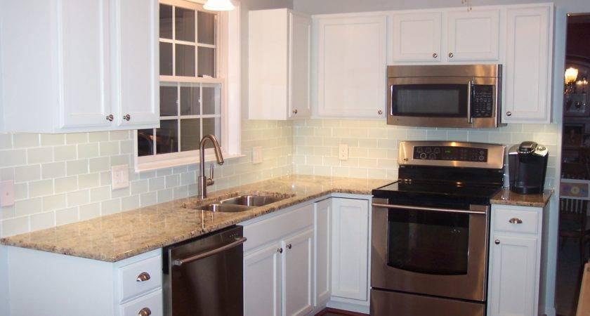 Nice Glass Subway Tile Backsplash Cool White Kitchen