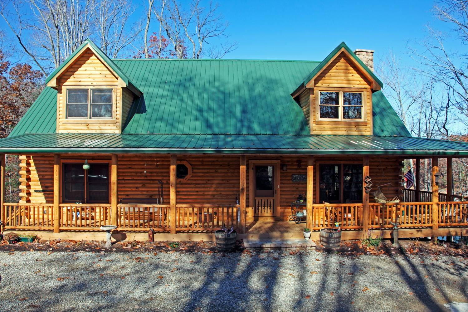 Nice Lakefront Log Home Exterior Double Wide