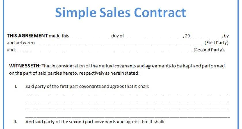 Sales Contract Template Layout Format