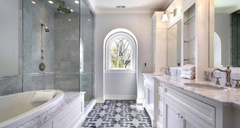 Shower Head Marble Tiles Surround Tub White Double Bathroom