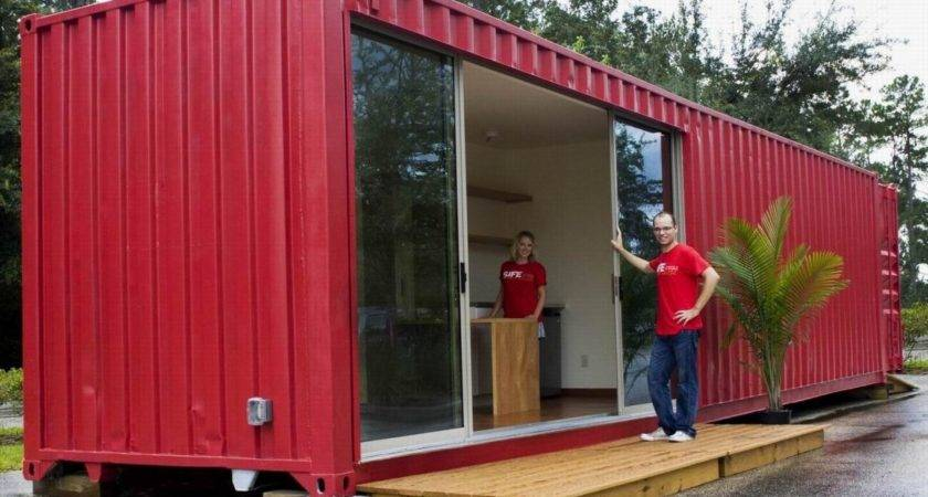 Simple Modular Shipping Containers Homes Red Wall Exterior Design