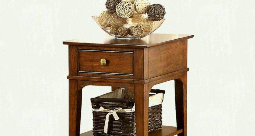 Small Wooden Living Room End Tables Storage