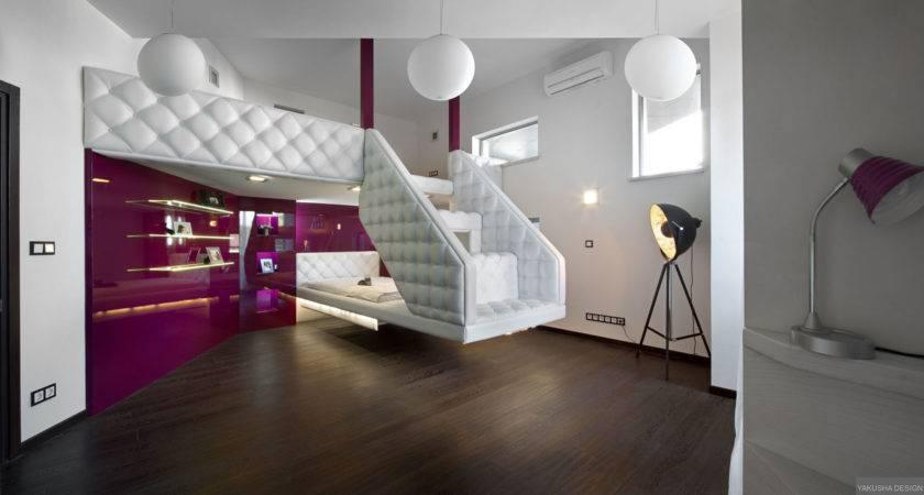 Split Level Plush Futuristic Retro Bedroom White Patent Fuscia