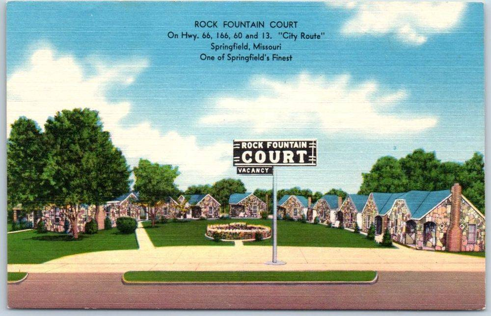 Springfield Route Postcard Rock Fountain Court Highway