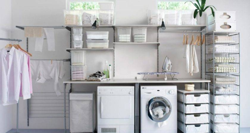 Steps Organized Laundry Room Decorating Design Ideas