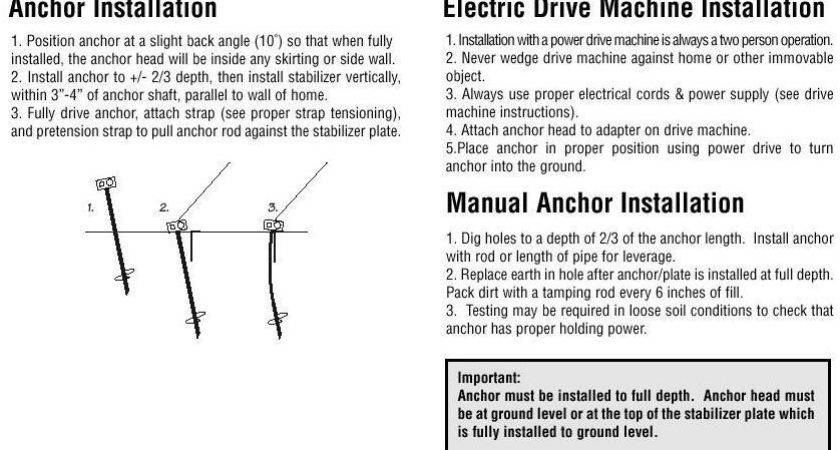 Tie Down Anchoring Instructions Supply Your Mobile