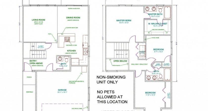 Townhouse Floor Plan Bedroom Car Garage Plans
