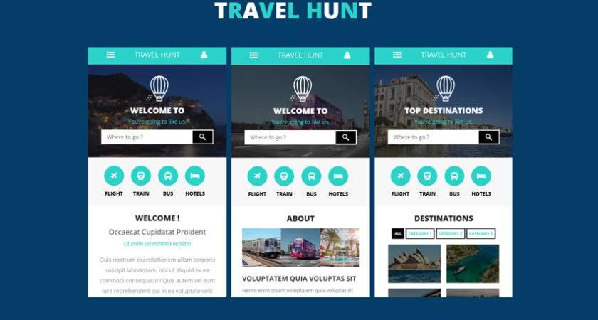 Travel Hunt Mobile App Flat Bootstrap Responsive Web