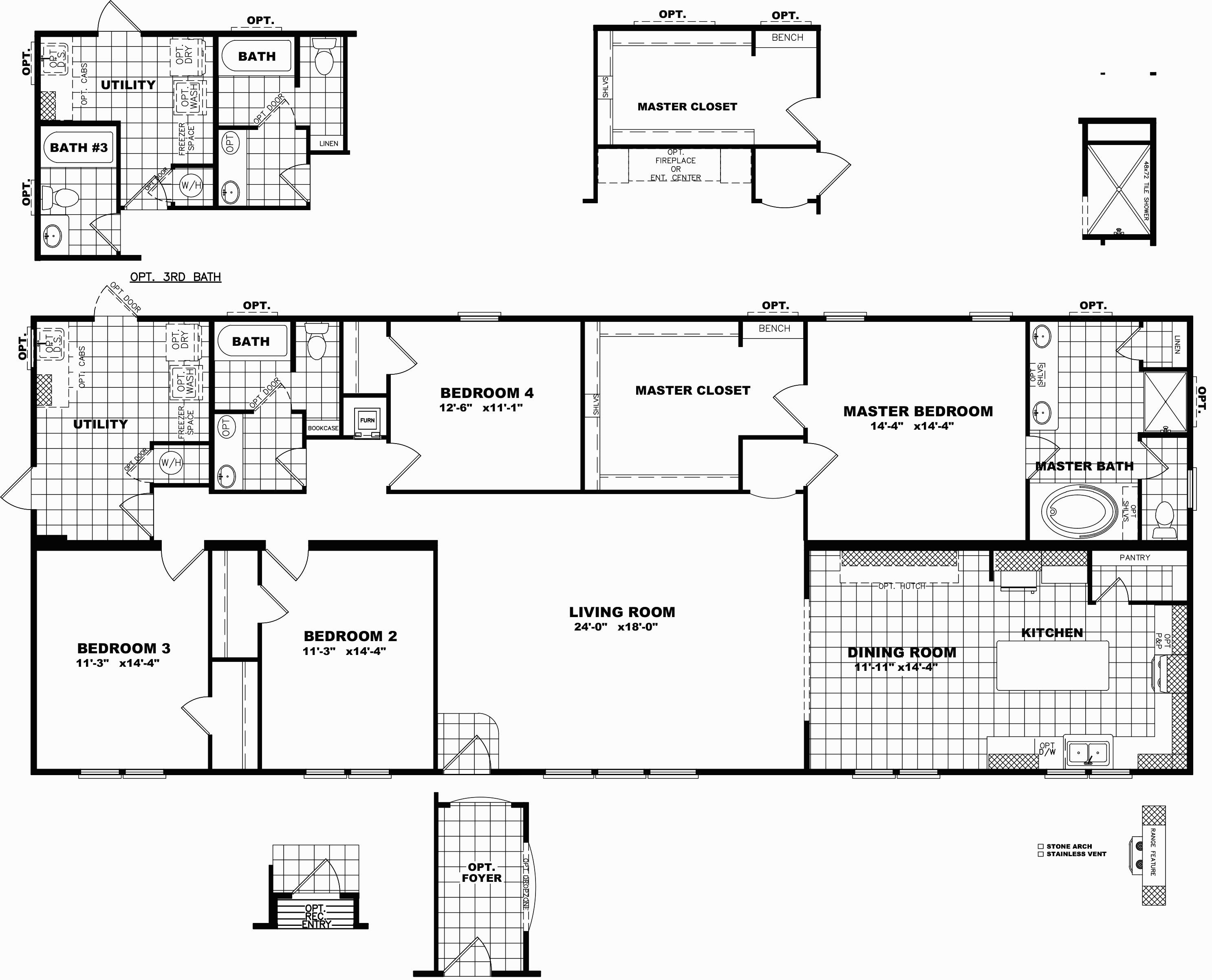 Triple Wide Mobile Home Floor Plans Delightful Clayton