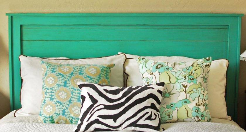 Turquoise Headboard Decorative Pillows Painted