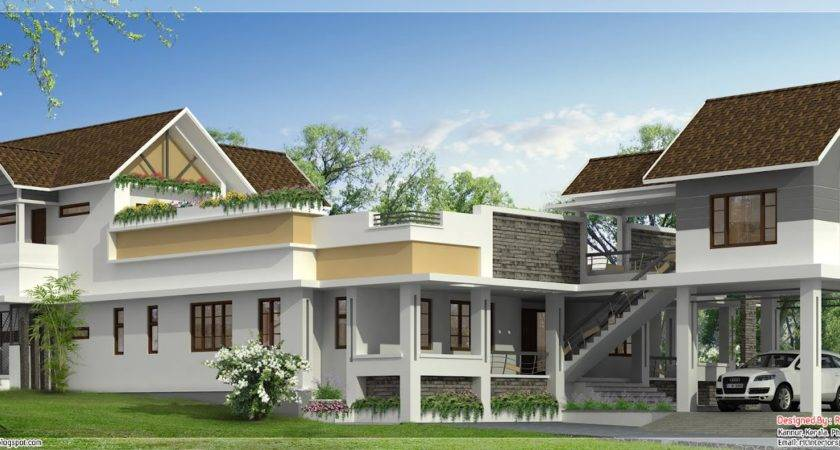 Unusual Wide Home Design Kerala Floor Plans