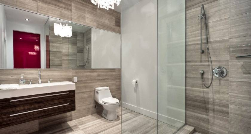 Vanity Unit Stylish Small Shower Idea Long Horizontal Mirror