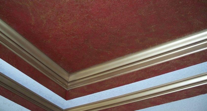 Venetian Plaster Gold Glaze Faux Finish Crown Moulding