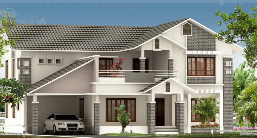 Villa Elevation Design Feet Kerala Home Floor