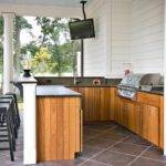 Wall Color Wooden Outdoor Kitchen Cabinet Elegant Patio Ideas